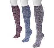 MUK LUKS Womens 3 Pair Pack Feather Yarn KneeHigh Socks - A361470