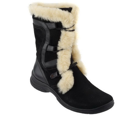 clarks leather suede faux fur lined boots a94470 qvc