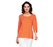 Susan Graver Weekend Cotton Modal 3/4 Sleeve Striped Top - A220471