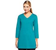 Susan Graver Ponte Knit V-neck 3/4 Sleeve Tunic - A225871