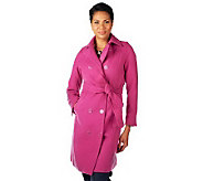 Isaac Mizrahi Live Double Breasted Melton Trench Coat - A227671