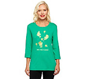 Quacker Factory Irish I had a Cupcake 3/4 Sleeve T-shirt - A238071