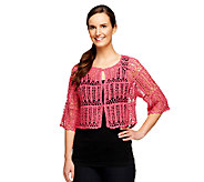 Liz Claiborne New York Hand Crochet Hook and Eye Cardigan - A254871