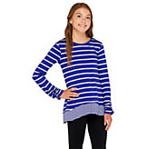 LOGO Littles by Lori Goldstein Striped Knit Top with Hi-Low Hem - A255471