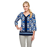 Susan Graver Printed Liquid Knit 3/4 Sleeve Top with Solid Trim - A255971