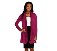 Attitudes by Renee Petite Combed Knit Drape Front Cardigan - A256171