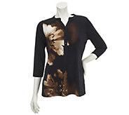 As Is Susan Graver Print Liwuid Knit Top w/ 3/4 Sleeves - A257271