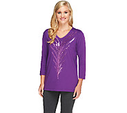 Bob Mackies Feather Sequin Embroidered Top - A259071
