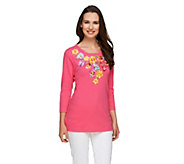 Quacker Factory Pretty Petals 3/4 Sleeve T-shirt - A259171