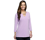 As Is Susan Graver Liquid Knit 3/4 Sleeve Top with Chain Detail - A259771