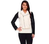 View by Walter Baker Jacket with Faux Leather Quilted Sleeves