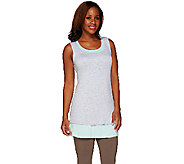 LOGO by Lori Goldstein Regular Heather and Solid Knit Tanks Twin Set - A263271