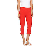 Women with Control Knit Capri Pants with Foldover Waist - A264271