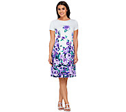 Liz Claiborne New York Floral Print Dress with Cap Sleeves - A266171