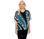 Bob Mackies Printed V-neck Caftan Top and Knit Tank Set - A266371