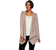 Denim & Co. Active French Terry Drape Front Hooded Cardigan - A267971