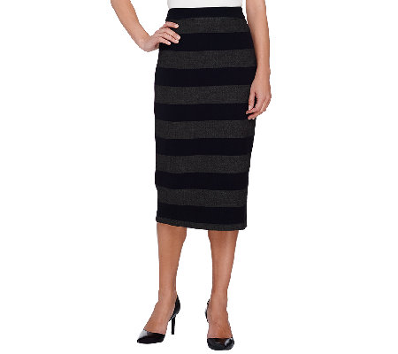 g i l i stretch twill striped pencil skirt with back zip