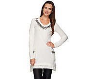 LOGO Lavish by Lori Goldstein Knit Tunic with Embellishment and Velvet Trim - A269671