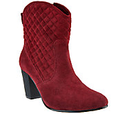 Isaac Mizrahi Live! Suede Quilted Stacked Heel Boots - A269771