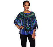 Bob Mackies Printed Caftan Top and 3/4 Sleeve Knit Top Set - A271371