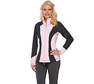 As Is Denim & Co. Active Duo- Stretch Zip Front Color Block Jacket - A271971