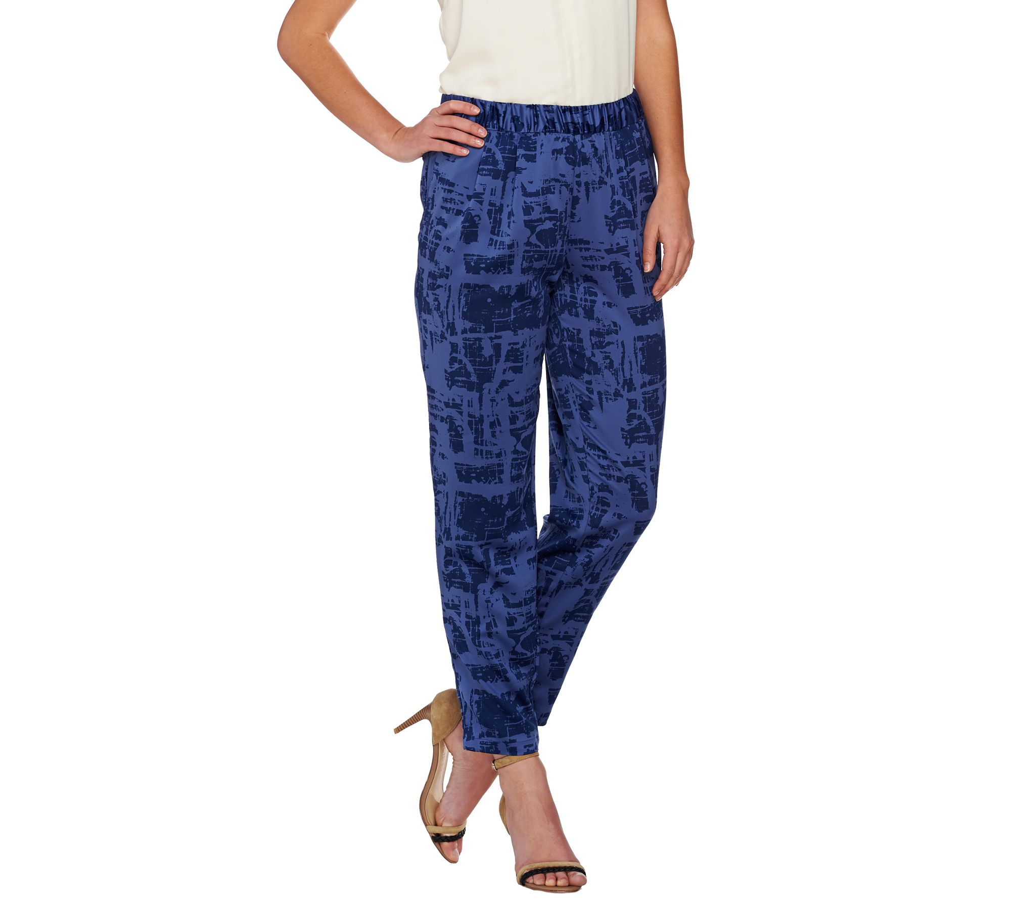 H by Halston Etch Print Woven Pull-On Ankle Pants