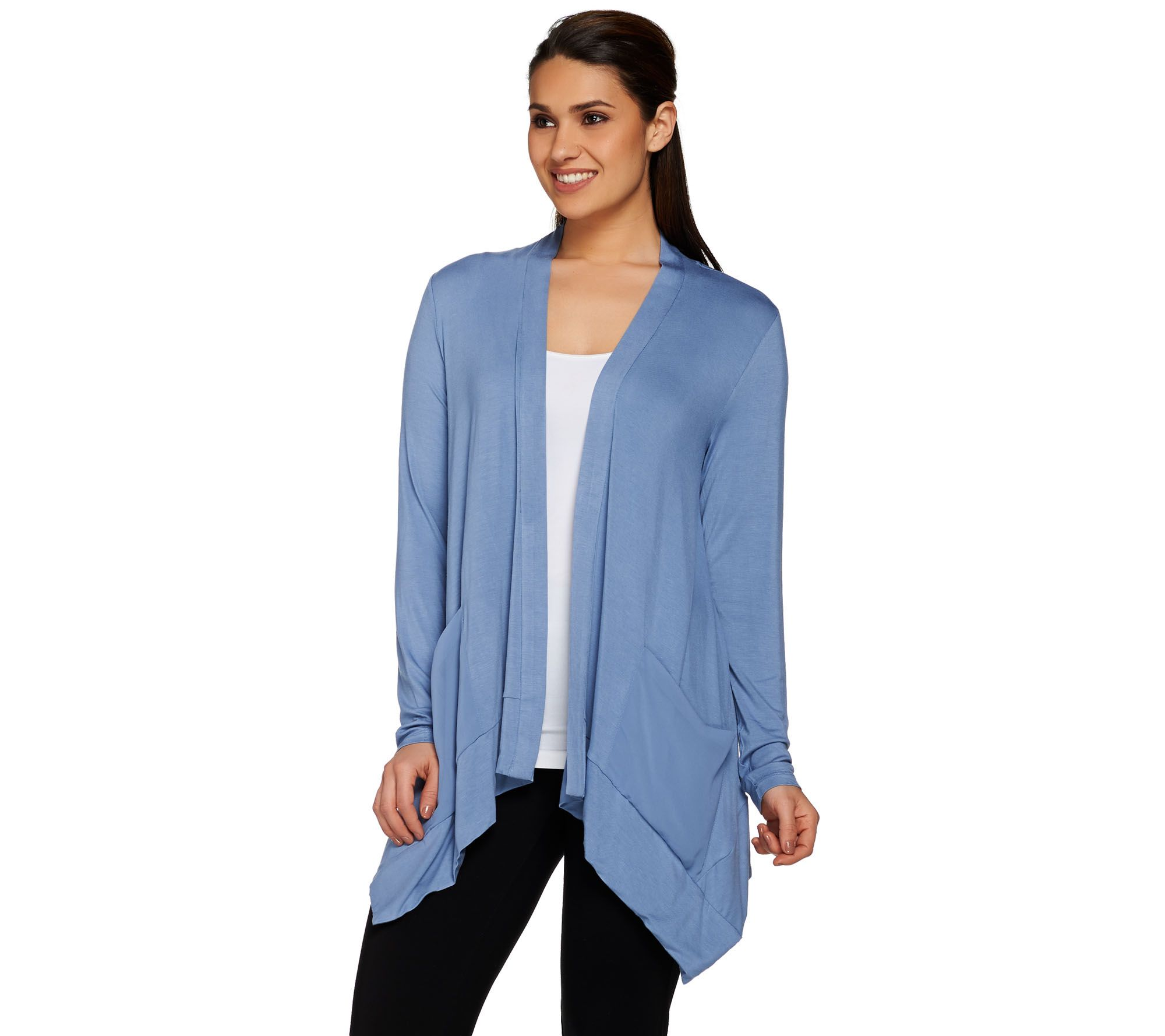 LOGO by Lori Goldstein Open Front Cardigan with Chiffon Pockets ...