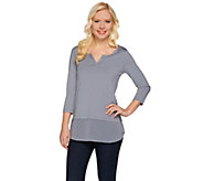 LOGO by Lori Goldstein Split Neck Knit Top with Swiss Dot Hem - A275771