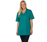 Denim & Co. Essentials Oversized Crossover V-neck Tee - A277771