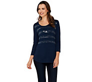 Kelly by Clinton Kelly Knit Top with Sequin Stripes - A278471