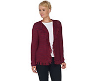 C. Wonder Boucle Knit Open Front Cardigan with Fringe - A283071