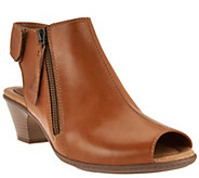As Is Earth Leather Peep-toe Booties - Kristy - A286371