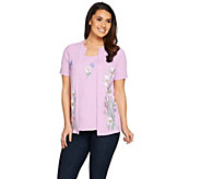 Quacker Factory Wildflowers Embroidered Short Sleeve Knit Duet - A287071