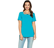 Susan Graver Liquid Knit Short Sleeve Top with Trim - A288471