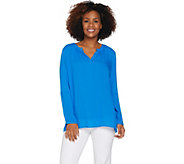 Kelly by Clinton Kelly Split V-neck Woven Tunic - A290471