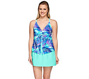 As Is Ocean Dream Signature Travelers Palm Fly Away Tankini - A292171