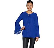 Belle by Kim Gravel Woven Blouse with Ruffle Bell Sleeve - A292971