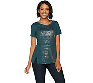 Lisa Rinna Collection Distressed Foil Printed Knit Top - A294171