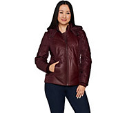 H by Halston Lamb Leather Motorcycle Puffer Jacket - A294371