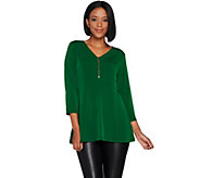 Susan Graver Liquid Knit Fit and Flare Top with Zipper - A298471