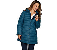 Susan Graver Reversible Snap Front Coat with Removeable Hood - A298671