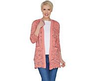 Isaac Mizrahi Live! 3/4 Sleeve Open Front Scallop Stitch Cardigan - A303171