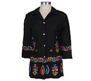 Linea by Louis DellOlio Embroidered Linen/Rayon Shirt Jacket - A05872