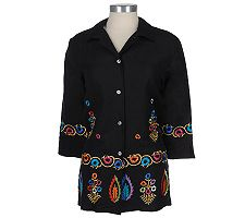 Linea by Louis Dell'Olio Embroidered Linen/Rayon Shirt Jacket