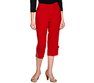 Susan Graver Chelsea Stretch Capri Pants with Button Tab & Slit Details - A213372
