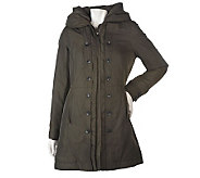 Dennis Basso Fully Lined Parka w/Pleat and Button Placket Detail - A219372