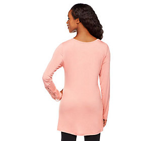 LOGO by Lori Goldstein Long Sleeve Knit Top with Lace Detail