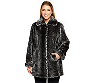Dennis Basso Animal Print Faux Fur Wing Collar Jacket - A238972