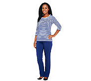 Quacker Factory Striped T-shirt and Pants Set - A254072