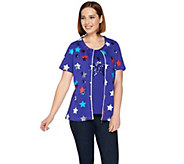 Quacker Factory Short Sleeve Zip Front Jacket and Star Tank - A254272